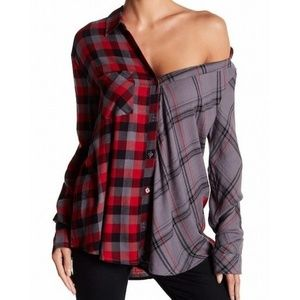 Abound asymmetrical off the shoulder button down